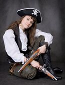 Girl - Pirate With Two Pistol In Hands
