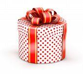 Caja de regalo blanca de puntillo rojo