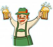 Oktoberfest Man With Glasses Of Beer.vector Illustration Isolated
