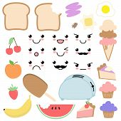 pic of kawaii  - Cute and Funky Vector Kawaii Food Set - JPG