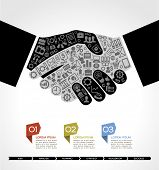 concept in modern business agreement. Businessman handshake with business small icons. Business info