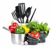 stock photo of saucepan  - Fresh ripe vegetables - JPG