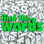 Find the Words in green letters on a background of letter tiles in a jumble or word search puzzle