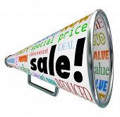 The word Sale on a bullhorn or megaphone to advertise a special clearance event or savings discount