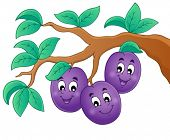 Image with plum theme 1 - eps10 vector illustration.