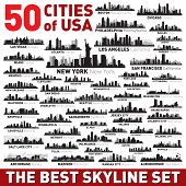 image of city silhouette  - Super city skyline set - JPG