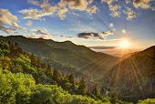 stock photo of gatlinburg  - Newfound Gap in the Smoky Mountains near Gatlinburg - JPG