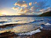 Lake Shikotsu at sunset in Hokkaido, Japan.