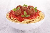 stock photo of meatballs  - spaghetti - JPG