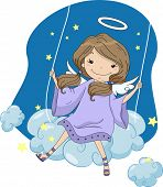 stock photo of cherubim  - Illustration of a Girl Angel in a Cloud Swing - JPG