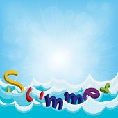 Beach Background - Vector Summer Design With Abstract Water
