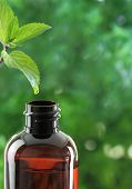 Drop falling of mint leaf in an essential oil bottle