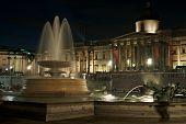National Gallery, Trafalgar Square, London, England, Uk, Illuminated At Night