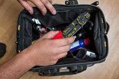 stock photo of hvac  - stock photo of Handyman Repairman HVAC repair tools - JPG