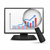 stock photo of ascending  - Magnifying glass showing rising bar graph with arrow on the screen of computer monitor - JPG
