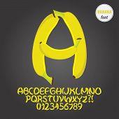 Yellow Banana Alphabet And Digit Vector