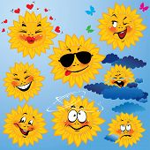 Set Of Cute Cartoons Of Sun With Different Expressions And Emotions. Design For Travel And Summer Ho