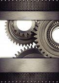 Cog wheel gears and metal borders