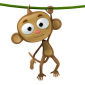 pic of cartoon character  - funny cartoon character brown monkey on white background - JPG