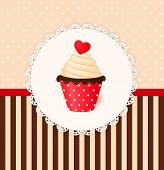 Vintage Vector Invitation Card With Heart On Cream Cake.
