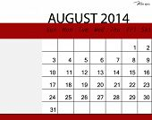 picture of august calendar  - Simple 2014 calendar - JPG