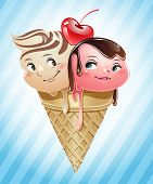 Ice cream scoops in love inside a cone
