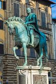 Statue Of The Rider Cosimo I De Medici Of Gianbologna In Florence