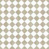 Pale Beige And White Diagonal Checkers On Textured Fabric Background
