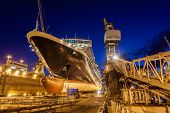 stock photo of shipbuilding  - Ship in the dry dock of the Bahamas - JPG