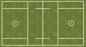 picture of huddle  - An overhead view of a mens lacrosse playing field with white markings painted on grass - JPG