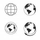 Globe earth icons set on white background