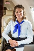 Portrait of happy airhostess sitting in private jet