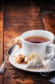 Cup Of Black Tea And Cookie
