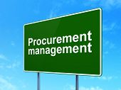 Finance concept: Procurement Management on road sign background