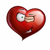 stock photo of eye-wink  - Cartoon Illustration of a Heart Face Emoticon winking - JPG