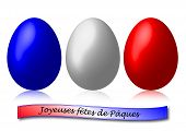 3 Easter Eggs Blue White And Red