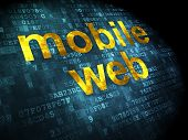 SEO web design concept: Mobile Web on digital background