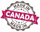Made In Canada Pink Grunge Seal Isolated On White Background