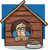 picture of proverb  - Cartoon Humor Concept Illustration of In The Dog House Saying or Proverb - JPG