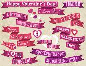 A Set Of Ribbon Valentine's Design, Vector