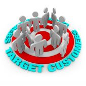 pic of niche  - Several customers stand on a red target surrounded by words Target Customers - JPG