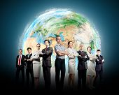 Group of successful confident businesspeople. Globalization concept. Elements of this image are furn
