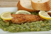 Fried Fish With Mushy Peas And Crusty Bread