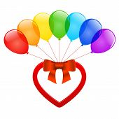 Vector Heart And Balloons.