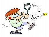Tennis Player Hitting a Ball