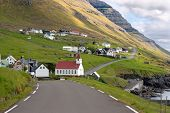 Faroe Islands, Road Leading To A Small Village