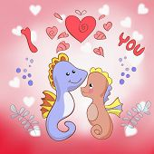 Lovers seahorses greeting card for Valentine's day