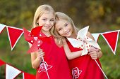 Portrait Of Two Sisters With Decor Style Valentine's Day