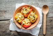 stock photo of pimiento  - Stuffed peppers with meat in the bowl - JPG