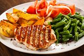 stock photo of veal meat  - Grilled steaks - JPG